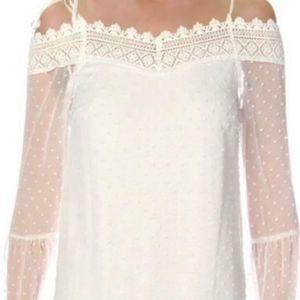 AQUA XS White Cold Shoulder Embroidered Dress